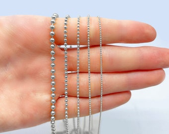 Mens/' Chain Anniversary Gift- Gift For Men- Boyfriend Gift Gold Ball Chain 14k Solid Gold Diamond-Cut Bead Chain Chain for Pendant