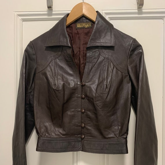 Vintage 1960s Brown Leather Jacket Mod 1970s