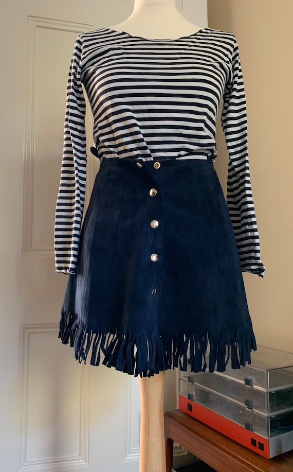 Vintage Navy Blue Suede mini Fringed Skirt 60s 70s