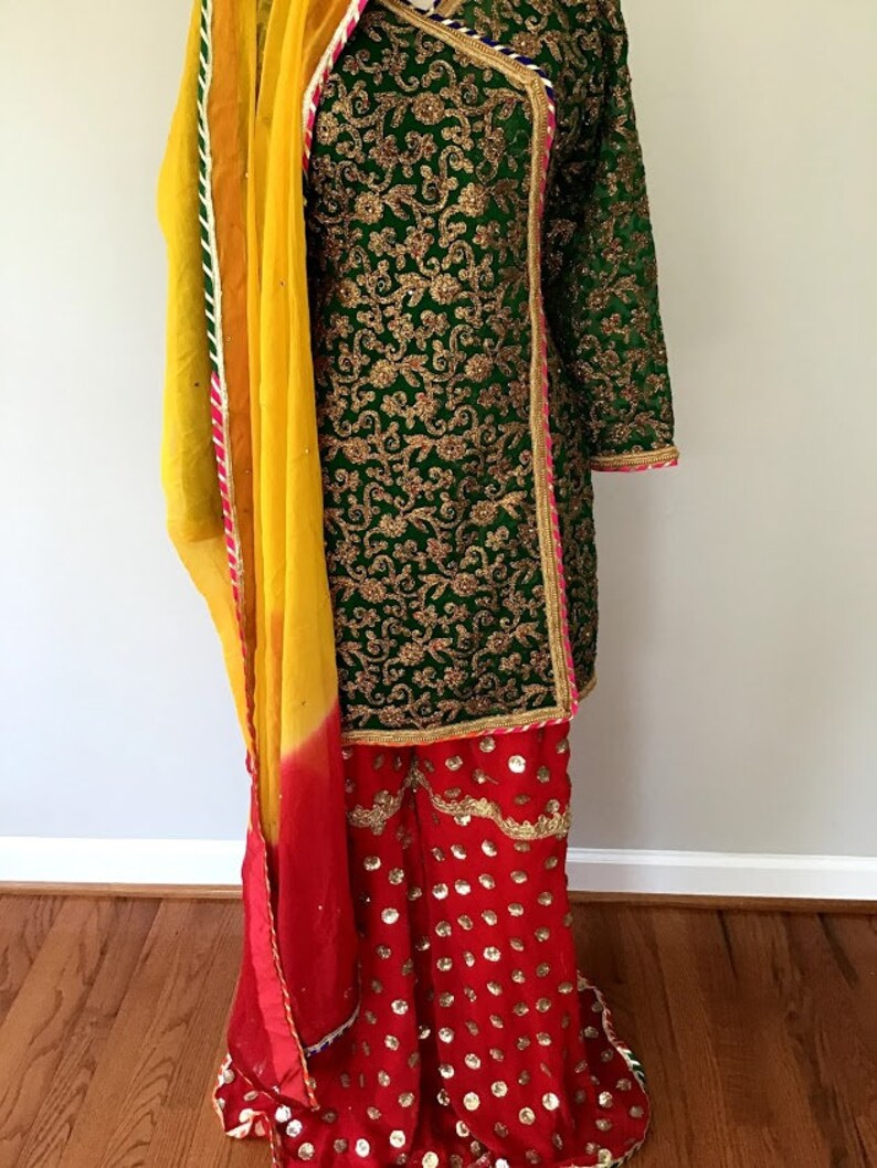 Greenred partywedding wear gharara