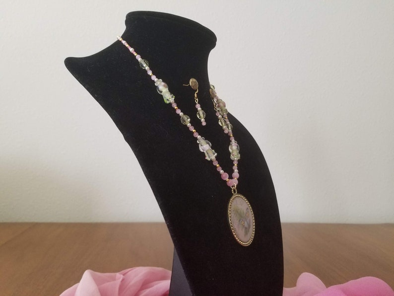 Necklace and Earrings Set Statement Piece. Rose Quarz Beaded Jewelry Bohemian