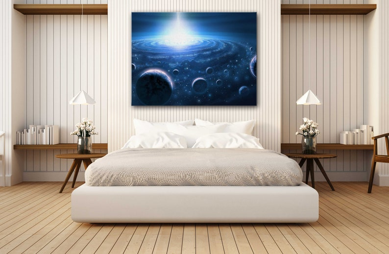 Poster Print Decor for Home /& Office Decoration I POSTER or CANVAS READY to Hang Wonderful solar system outer space Canvas Wall Art Design