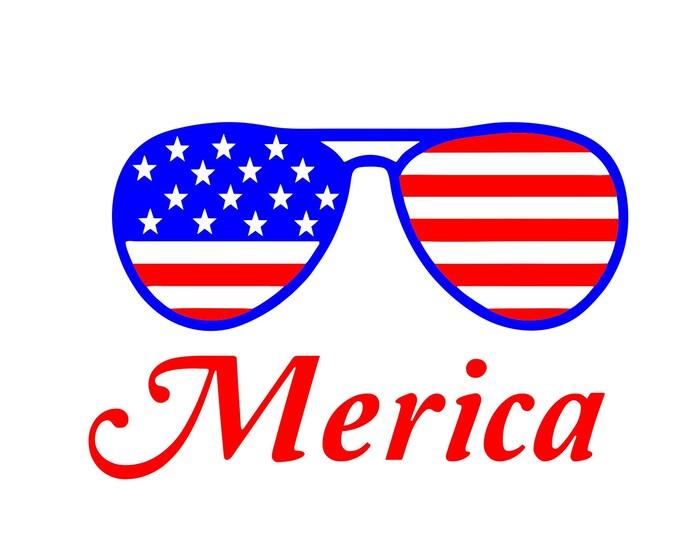Merica sunglasses digital download, Merica 4th of july logo, Merica svg, Merica digital download, red white and blue glasses logo