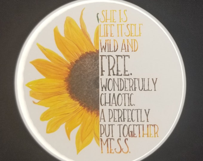 3.5 inch travel mirror, she is life itself wild & free quote, A perfectly put together mess travel mirror, Inspirational makeup mirror
