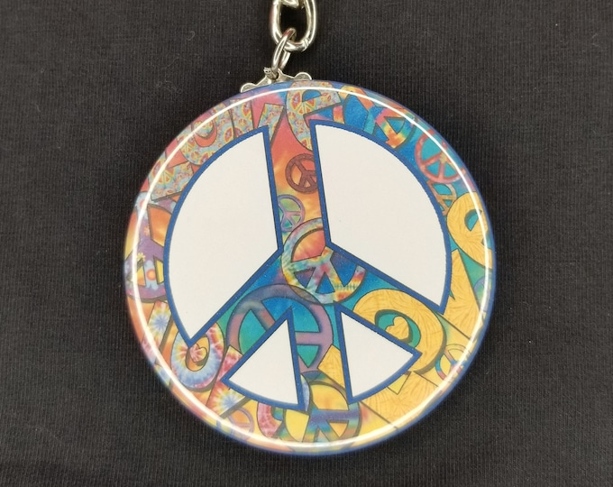 Colorful peace sign keychain, peace and love keychain, rainbow peace logo keychain, peace sign shaped keychain, love colorful keychain