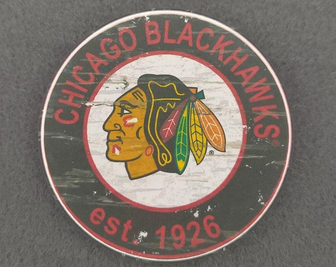 Chicago Blackhawks magnet, Chicago Blackhawks logo magnet, NHL sports team magnet, NHL sport team magnet, NHL travel sport fridge magnets