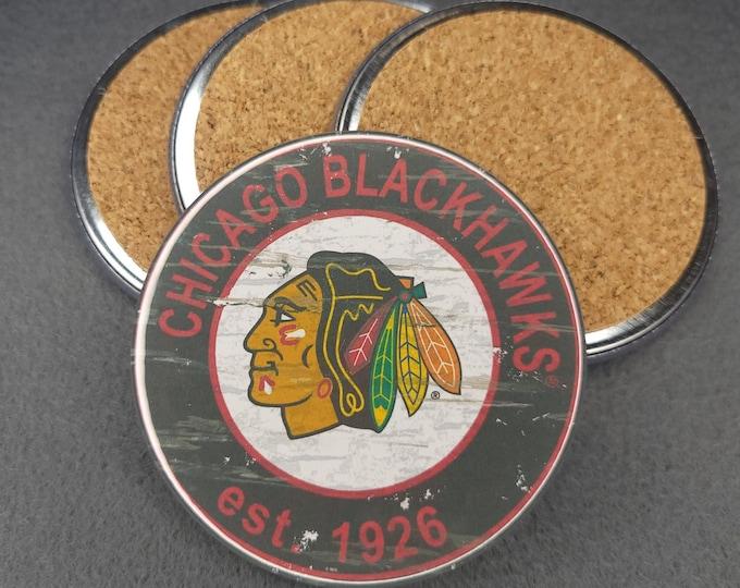 Chicago Blackhawks coaster set, Blackhawks team logo coasters, NHL sports team coasters, Cork back coasters, Sport teams coaster sets