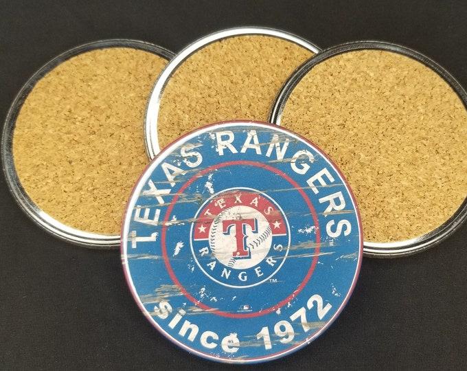 Texas Rangers team coaster set, Texas Rangers team logo coasters, MLB sports team coasters, Cork back coasters, Sport teams coaster set