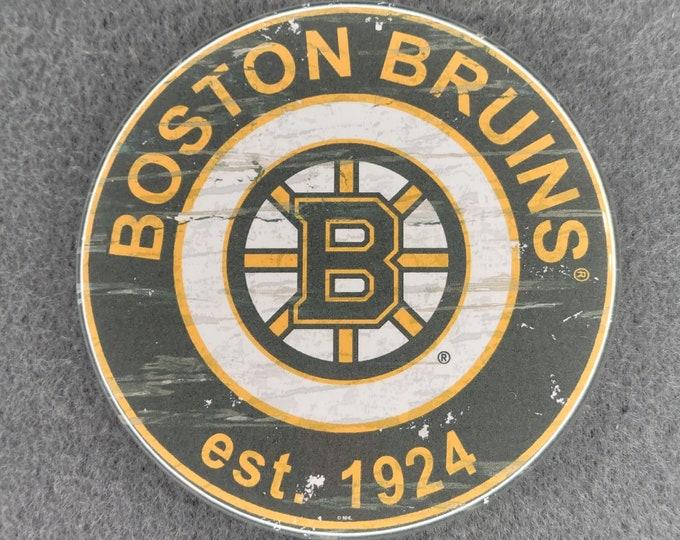 Boston Bruins pin back button, Boston Bruins team logo buttons, NHL sports team pins, NHL sport team button, NHL pin back button