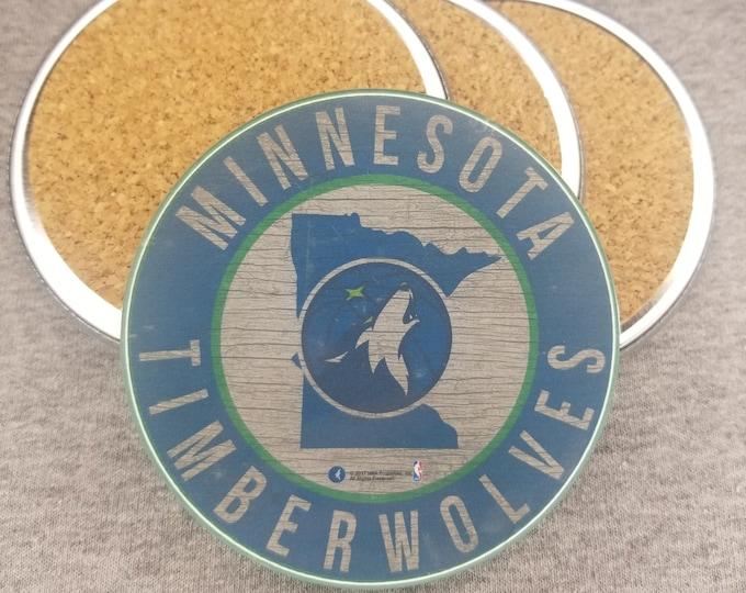 Minnesota Timberwolves team coaster set, Crunch the wolf team pride, NBA sports coasters, Cork back coasters, Sport team coaster