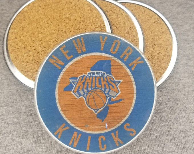 New York Knicks team coaster set, Knicks team pride, NBA sports coasters, Cork back coasters, Sport team coaster