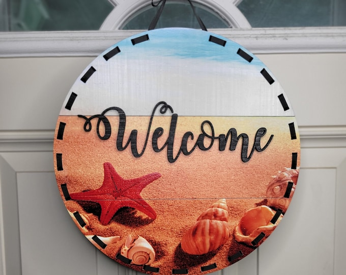 Beach themed door hanger, Full color beach and shells welcome sign, Sea shell welcome sign, 12 inch door hanger, Beach welcome sign