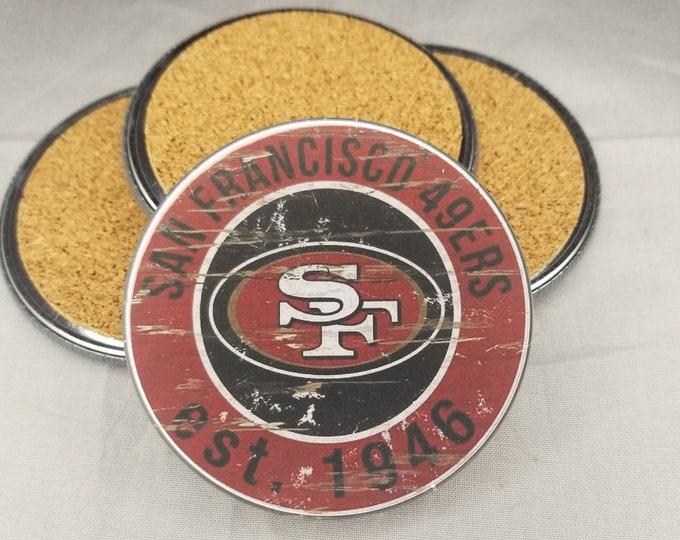 San Francisco 49ers coaster set, 49ers team logo coasters, NFL sports team coasters, Cork back coasters, Sport teams coaster sets