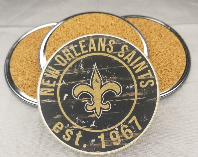 New Orleans Saints coaster set, Saints team logo coasters, NFL sports team coasters, Cork back coasters, Sport teams coaster sets