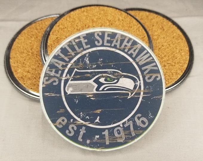 Seattle Seahawks coaster set, Seahawks team logo coasters, NFL sports team coasters, Cork back coasters, Sport teams coaster sets