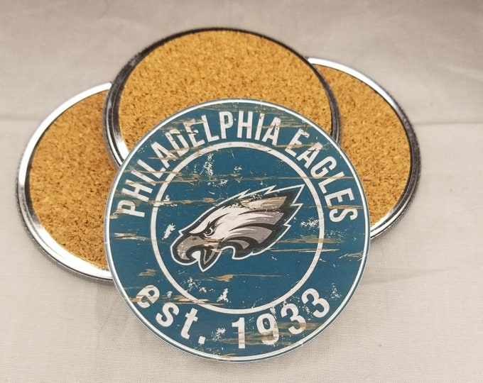 Philadelphia Eagles coaster set, Eagles team logo coasters, NFL sports team coasters, Cork back coasters, Sport teams coaster sets
