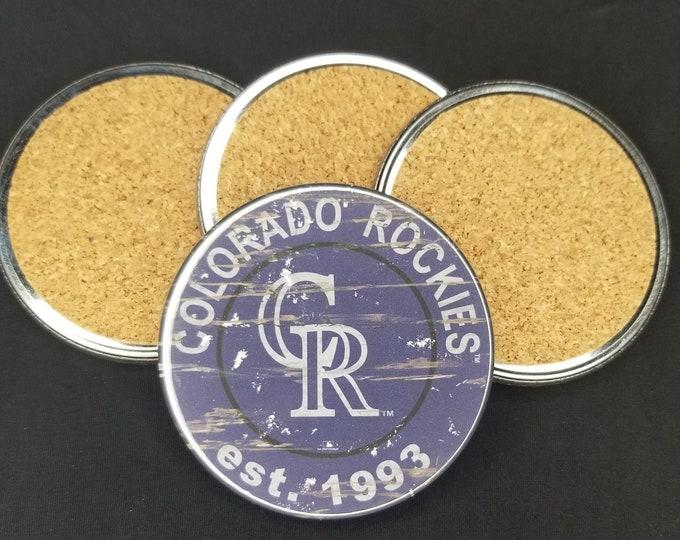Colorado Rockies coaster set, Rockies team logo coasters, MLB sports team coasters, Cork back coasters, Sport teams coaster set, MLB Rockies