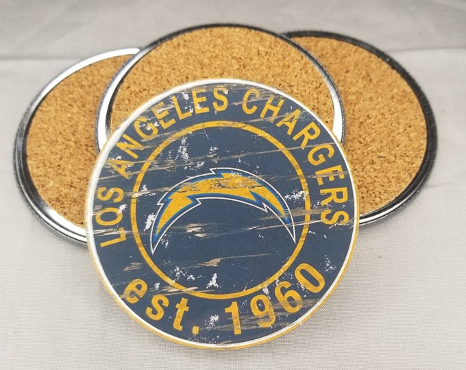 Los Angeles Chargers coaster set, Chargers team logo coasters, NFL sports team coasters, Cork back coasters, Sport teams coaster sets