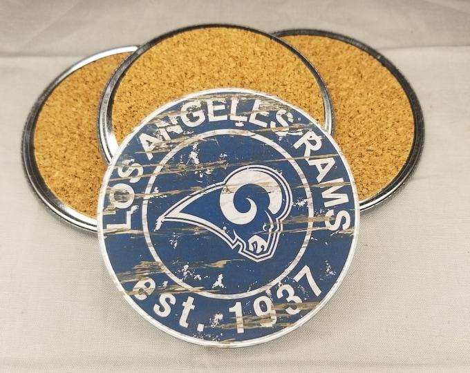 Los Angeles Rams coaster set, Rams team logo coasters, NFL sports team coasters, Cork back coasters, Sport teams coaster sets