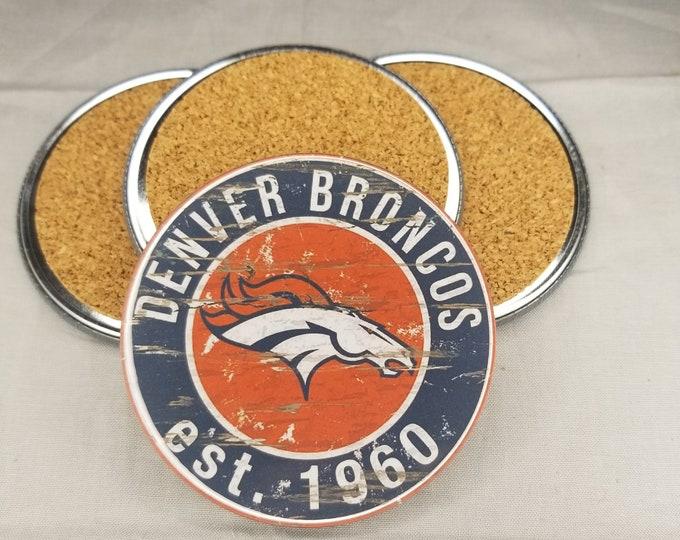 Denver Broncos coaster set, Broncos team logo coasters, NFL sports team coasters, Cork back coasters, Sport teams coaster sets