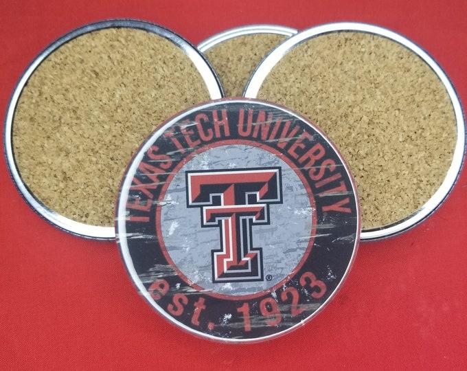 Texas Tech University team coaster set, Red Raiders team pride, NCAA sports coasters, Cork back coasters, Sport team coaster