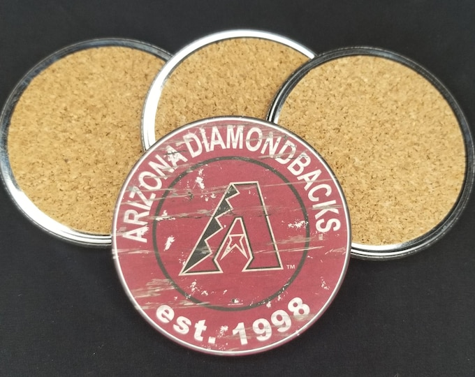Arizona Diamondbacks coaster set, Diamondbacks team logo coasters, MLB sports team coasters, Cork back coasters, Sport teams coaster set