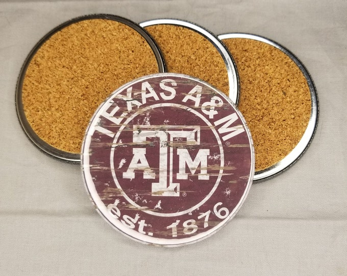 Texas A&M team coaster set, Aggies team pride, NCAA sports coasters, Cork back coasters, Sport team coaster