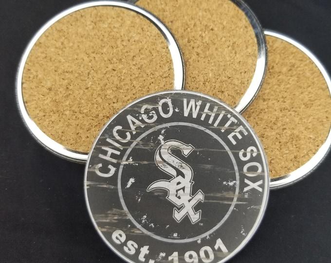 Chicago white sox coaster set, White Sox team logo coasters, MLB sports team coasters, Cork back coasters, Sport teams coaster set