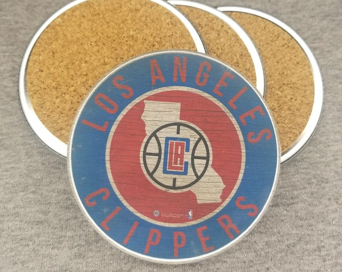 Los Angeles Clippers team coaster set, Clippers team pride, NBA sports coasters, Cork back coasters, Sport team coaster
