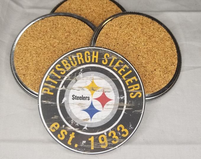 Pittsburgh Steelers coaster set, Steelers team logo coasters, NFL sports team coasters, Cork back coasters, Sport teams coaster sets