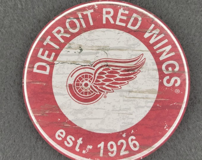 Detroit Red Wings pin back button, Detroit Red Wings team logo buttons, NHL sports team pins, NHL sport team button, NHL pin back button