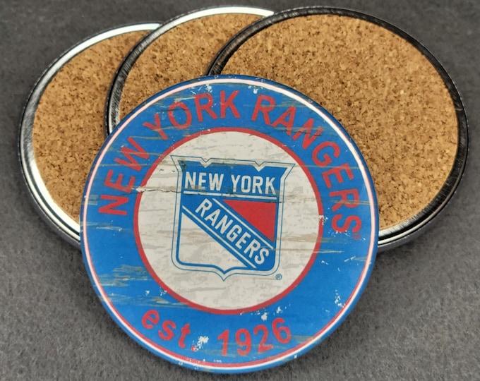 New York Rangers coaster set, Rangers team logo coasters, NHL sports team coasters, Cork back coasters, Sport teams coaster sets
