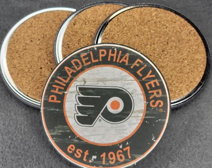 Philadelphia Flyers coaster set, Flyers team logo coasters, NHL sports team coasters, Cork back coasters, Sport teams coaster sets