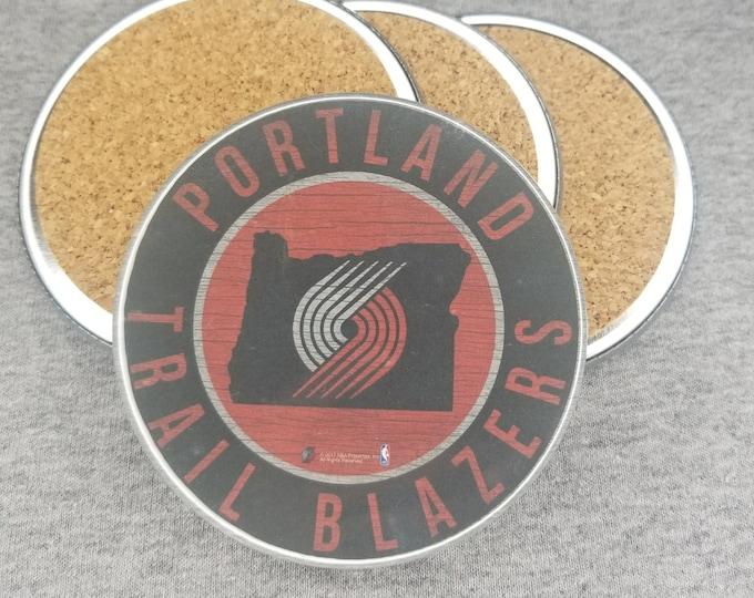 Portland Trail Blazers team coaster set, Blaze the trail cat team pride, NBA sports coasters, Cork back coasters, Sport team coaster