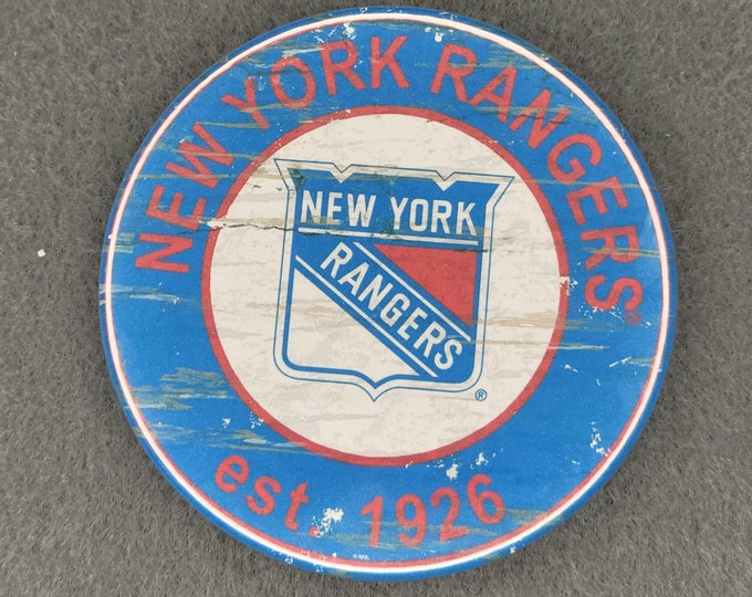 New York Rangers Pin back button, Rangers team logo pins, NHL sports team buttons, 3.5 inch sport team pins, 3.5 inch New York buttons