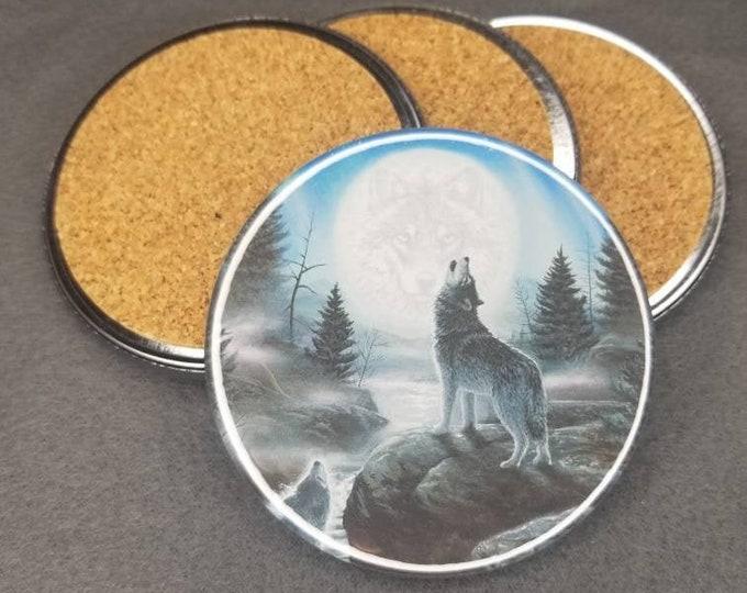 Wolf coaster set, 3.5 inch wolf coaster set with cork backing, wolf scene coasters, night wolf coaster set