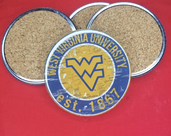 West Virginia University team coaster set, West Virginia logo coasters, NCAA sports team coasters, Cork back coasters, Sport teams coaster