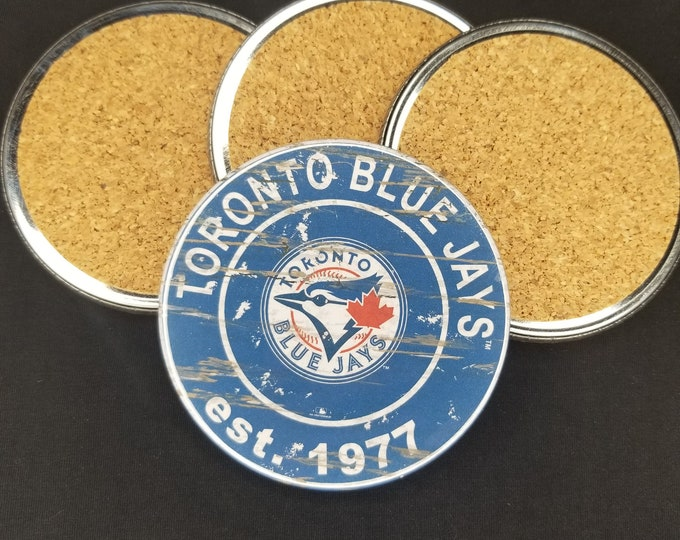 Toronto Blue Jays coaster set, blue jays team logo coasters, MLB sports team coasters, Cork back coasters, Sport teams coaster set