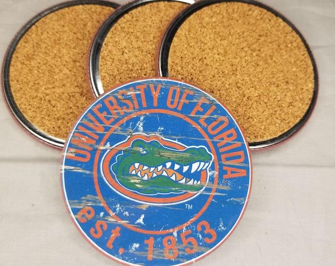 Florida Gators coaster set, Florida gators team logo coasters, College Football team coasters, Cork back coasters, Sport teams coaster sets