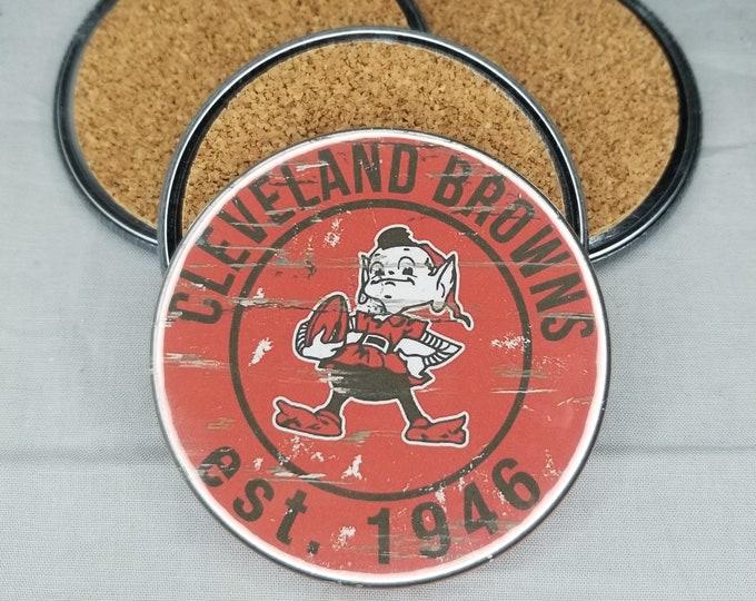 Cleveland Browns coaster set, Browns team logo coasters, NFL sports team coasters, Cork back coasters, Sport teams coaster sets