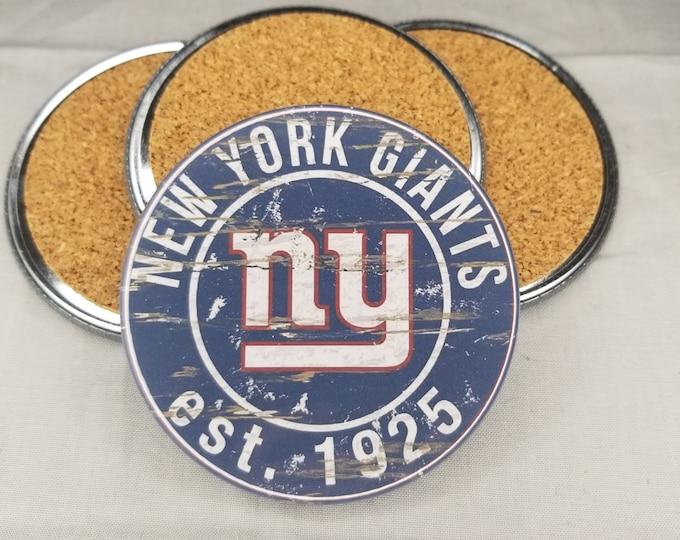 New York Giants coaster set, Giants team logo coasters, NFL sports team coasters, Cork back coasters, Sport teams coaster sets