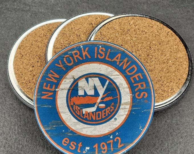 New York Islanders coaster set, NY Islanders team logo coasters, NHL sports team coasters, Cork back coasters, Sport teams coaster sets