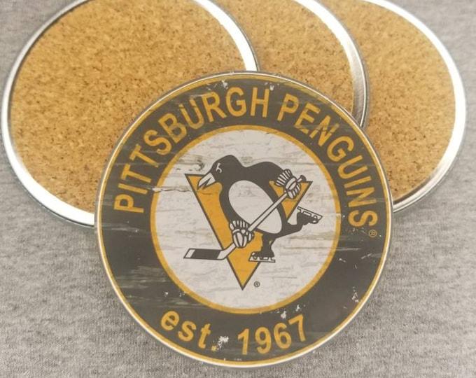 Pittsburgh Penguins coaster set, Penguins team logo coasters, NHL sports team coasters, Cork back coasters, Sport teams coaster sets