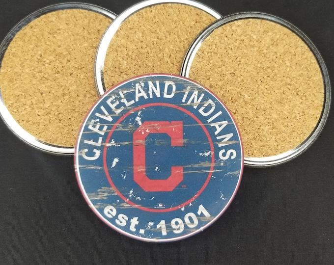 Cleveland Indians coaster set, Indians team logo coasters, MLB sports team coasters, Cork back coasters, Sport teams coaster set