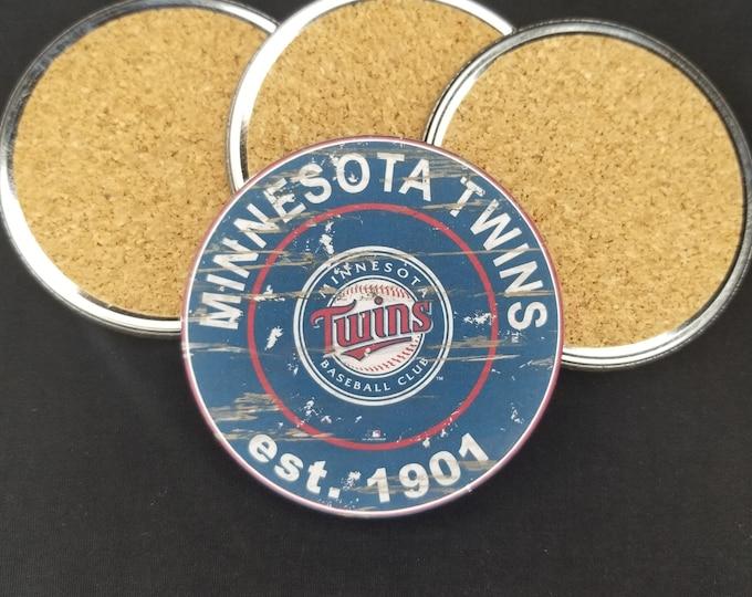 Minnesota Twins coaster set, Twins team logo coasters, MLB sports team coasters, Cork back coasters, Sport teams coaster set