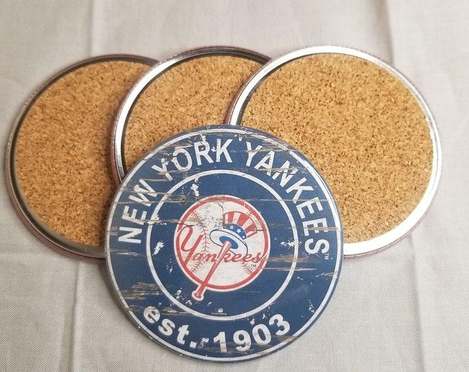 New york yankees coaster set, Yankees logo coasters, MLB sports team coasters, Cork back coasters, Sport teams coaster set, Mets team pride