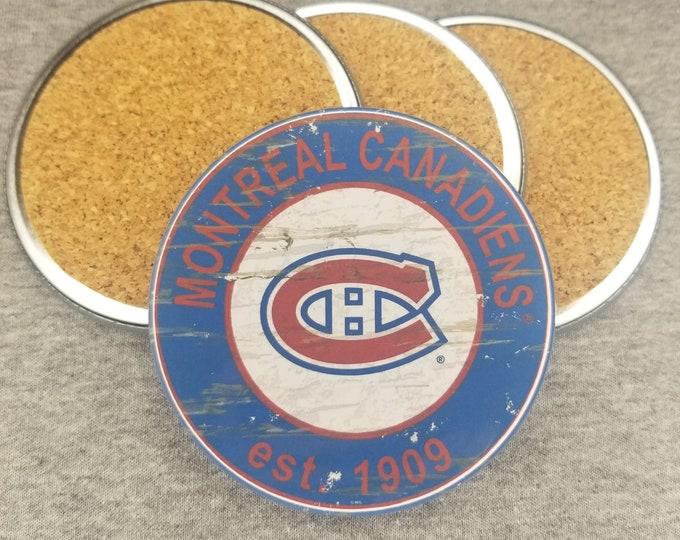Montreal Canadiens coaster set, Montreal Canadiens team logo coasters, NHL sports team coasters, Cork back coasters, Sport teams coaster set