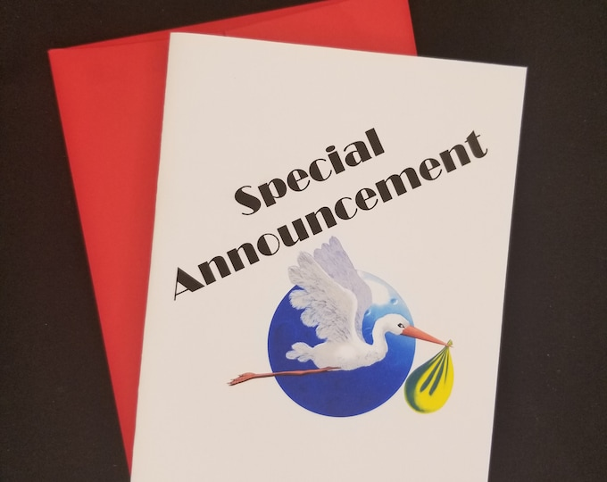 Special Announcement card, Baby announcement card, baby on the way greeting card, grandparent announcement, Poppy card, Pop-pop greeting