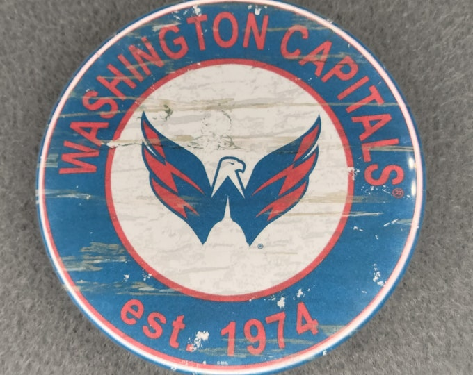 Washington Capitals pin back button, Washington Capitals team logo buttons, NHL sports team pins, NHL sport team button, NHL pin back button