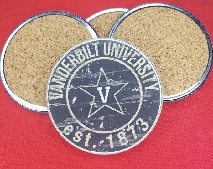 Vanderbilt University team coaster set, Vanderbilt University team pride, NCAA sports coasters, Cork back coasters, Sport team coaster